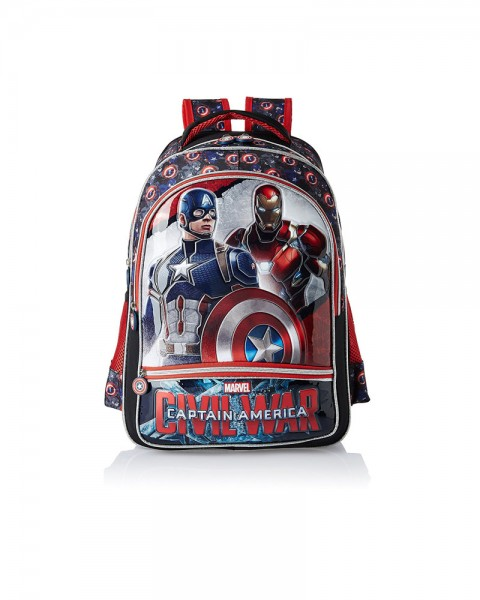 Captain America Polyester 18 Inch Red and Black Children Backpack
